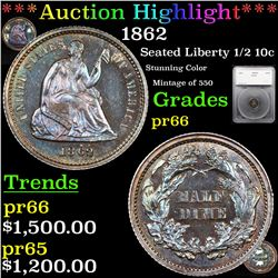Proof ***Auction Highlight*** 1862 Seated Liberty Half Dime 1/2 10c Graded pr66 By SEGS (fc)