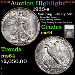 ***Auction Highlight*** 1933-s Walking Liberty Half Dollar 50c Graded ms64 By SEGS (fc)