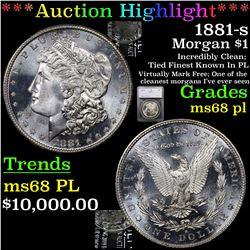 ***Auction Highlight*** 1881-s Morgan Dollar $1 Graded ms68 pl By SEGS (fc)