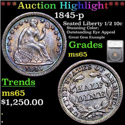 ***Auction Highlight*** 1845-p Seated Liberty Half Dime 1/2 10c Graded ms65 By SEGS (fc)