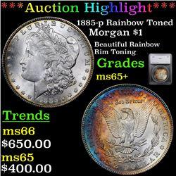 ***Auction Highlight*** 1885-p Rainbow Toned Morgan Dollar $1 Graded ms65+ By SEGS (fc)