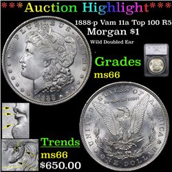 ***Auction Highlight*** 1888-p Vam 11a Top 100 R5 Morgan Dollar $1 Graded ms66 By SEGS (fc)