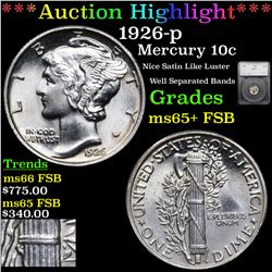 ***Auction Highlight*** 1926-p Mercury Dime 10c Graded ms65+ FSB By SEGS (fc)