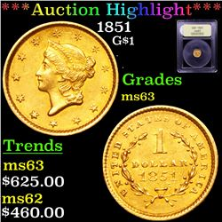 ***Auction Highlight*** 1851 Gold Dollar $1 Graded Select Unc By USCG (fc)