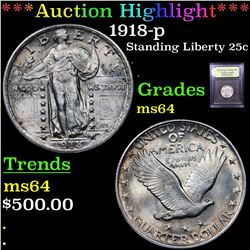 ***Auction Highlight*** 1918-p Standing Liberty Quarter 25c Graded Choice Unc By USCG (fc)