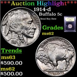 ***Auction Highlight*** 1914-d Buffalo Nickel 5c Graded Select Unc By USCG (fc)