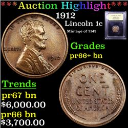 Proof ***Auction Highlight*** 1912 Lincoln Cent 1c Graded Gem++ Proof BN By USCG (fc)