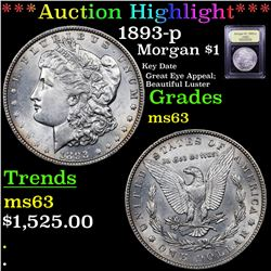 ***Auction Highlight*** 1893-p Morgan Dollar $1 Graded Select Unc By USCG (fc)