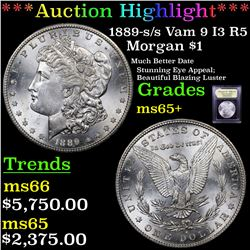 ***Auction Highlight*** 1889-s /s Vam 9 I3 R5 Morgan Dollar $1 Graded GEM+ Unc By USCG (fc)