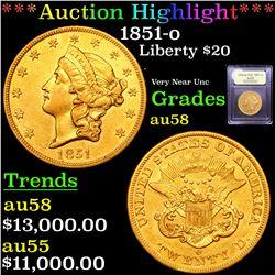 ***Auction Highlight*** 1851-o Gold Liberty Double Eagle $20 Graded Choice AU/BU Slider By USCG (fc)
