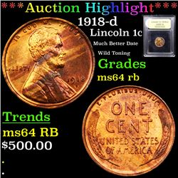***Auction Highlight*** 1918-d Lincoln Cent 1c Graded Choice Unc RB By USCG (fc)