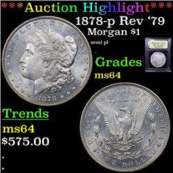 ***Auction Highlight*** 1878-p Rev '79 Morgan Dollar $1 Graded Choice Unc By USCG (fc)