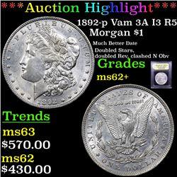 ***Auction Highlight*** 1892-p Vam 3A I3 R5 Morgan Dollar $1 Graded Select Unc By USCG (fc)