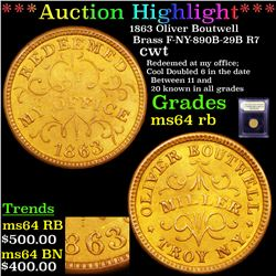 ***Auction Highlight*** 1863 Oliver Boutwell Brass F-NY-890B-29B R7 Civil War Token 1c Graded Choice
