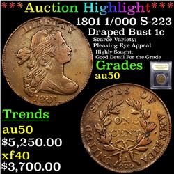 ***Auction Highlight*** 1801 1/000 S-223 Draped Bust Large Cent 1c Graded AU, Almost Unc By USCG (fc