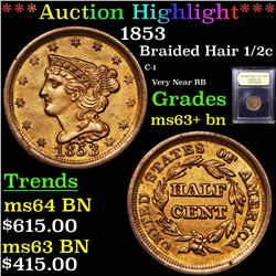 ***Auction Highlight*** 1853 Braided Hair Half Cent 1/2c Graded Select+ Unc BN By USCG (fc)
