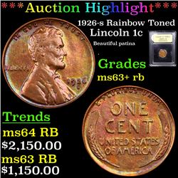 ***Auction Highlight*** 1926-s Rainbow Toned Lincoln Cent 1c Graded Select+ Unc RB By USCG (fc)