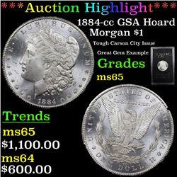***Auction Highlight*** 1884-cc GSA Hoard Morgan Dollar $1 Grades GEM Unc (fc)