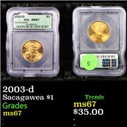 2003-d Sacagawea $1 Graded ms67 By ICG