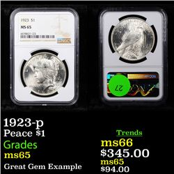 NGC 1923-p Peace Dollar $1 Graded ms65 By NGC