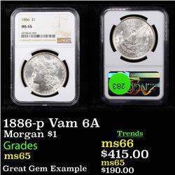 NGC 1886-p Vam 6A Morgan Dollar $1 Graded ms65 By NGC