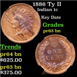Proof NGC 1886 Ty II Indian Cent 1c Graded pr63 bn By NGC