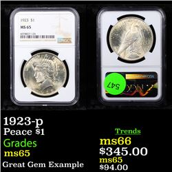 1923-p Peace Dollar $1 Graded ms65 By NGC