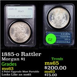 PCGS 1885-o Rattler Morgan Dollar $1 Graded ms63 By PCGS