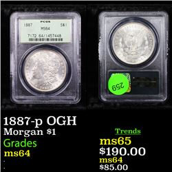 PCGS 1887-p OGH Morgan Dollar $1 Graded ms64 By PCGS