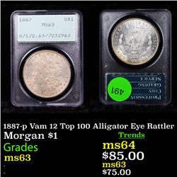 PCGS 1887-p Vam 12 Top 100 Alligator Eye Rattler Morgan $1 Graded ms63 By PCGS