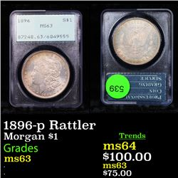 PCGS 1896-p Rattler Morgan Dollar $1 Graded ms63 By PCGS