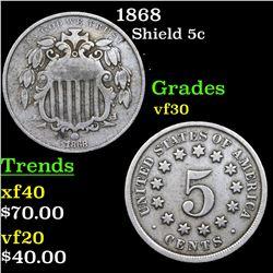 1868 Shield Nickel 5c Grades vf++