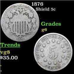 1876 Shield Nickel 5c Grades g+