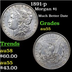 1891-p Morgan Dollar $1 Grades Choice AU