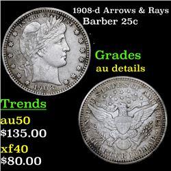1908-d Arrows & Rays Barber Quarter 25c Grades AU Details