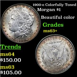 1900-o Colorfully Toned Morgan Dollar $1 Grades Select+ Unc