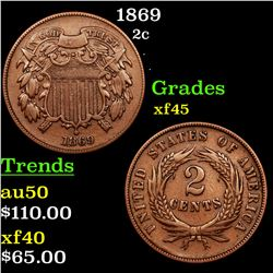 1869 Two Cent Piece 2c Grades xf+