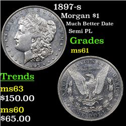 1897-s Morgan Dollar $1 Grades BU+