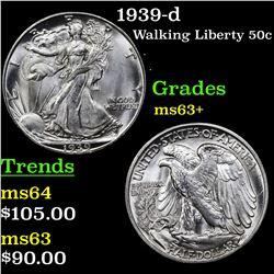 1939-d Walking Liberty Half Dollar 50c Grades Select+ Unc