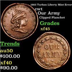 1863 Turban Liberty Mint Error Civil War Token 1c Grades xf+