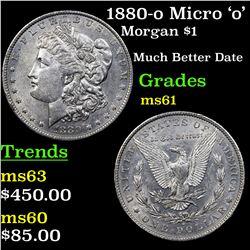 1880-o Micro 'o' Morgan Dollar $1 Grades BU+