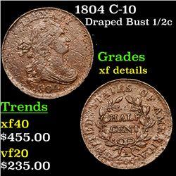 1804 C-10 Draped Bust Half Cent 1/2c Grades xf details