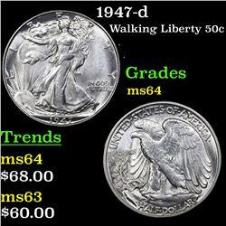1947-d Walking Liberty Half Dollar 50c Grades Choice Unc