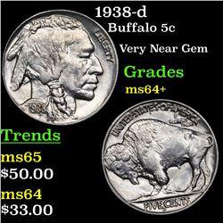1938-d Buffalo Nickel 5c Grades Choice+ Unc