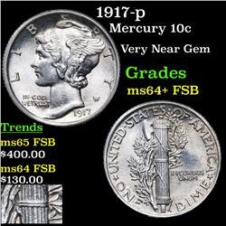 1917-p Mercury Dime 10c Grades Choice Unc+ FSB