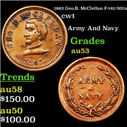 1863 Geo.B. McClellan F-141/307a Civil War Token 1c Grades Select AU