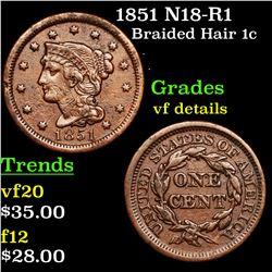 1851 N18-R1 Braided Hair Large Cent 1c Grades vf details