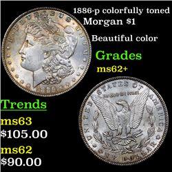 1886-p colorfully toned Morgan Dollar $1 Grades Select Unc