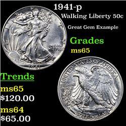 1941-p Walking Liberty Half Dollar 50c Grades GEM Unc