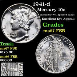 1941-d Mercury Dime 10c Grades GEM++ FSB
